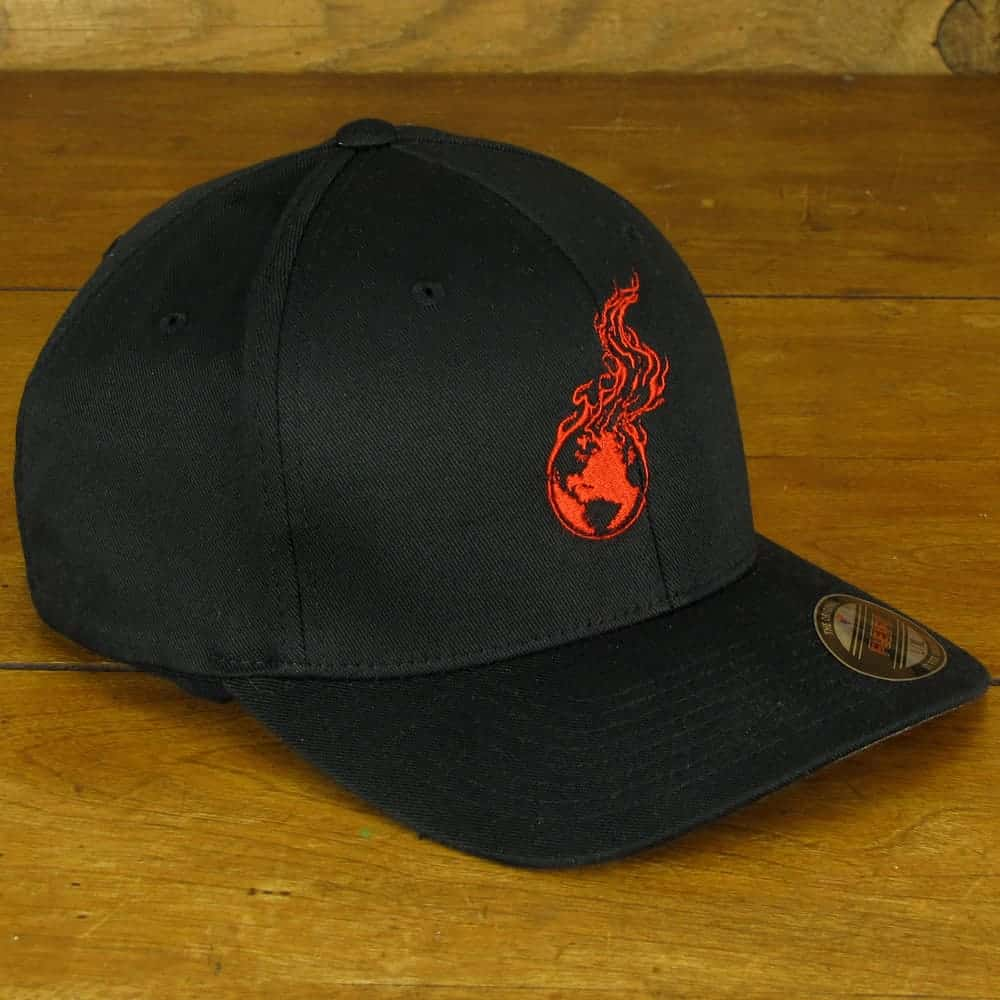 Burning Earth Red Logo | Black Poly/Cotton Baseball Cap