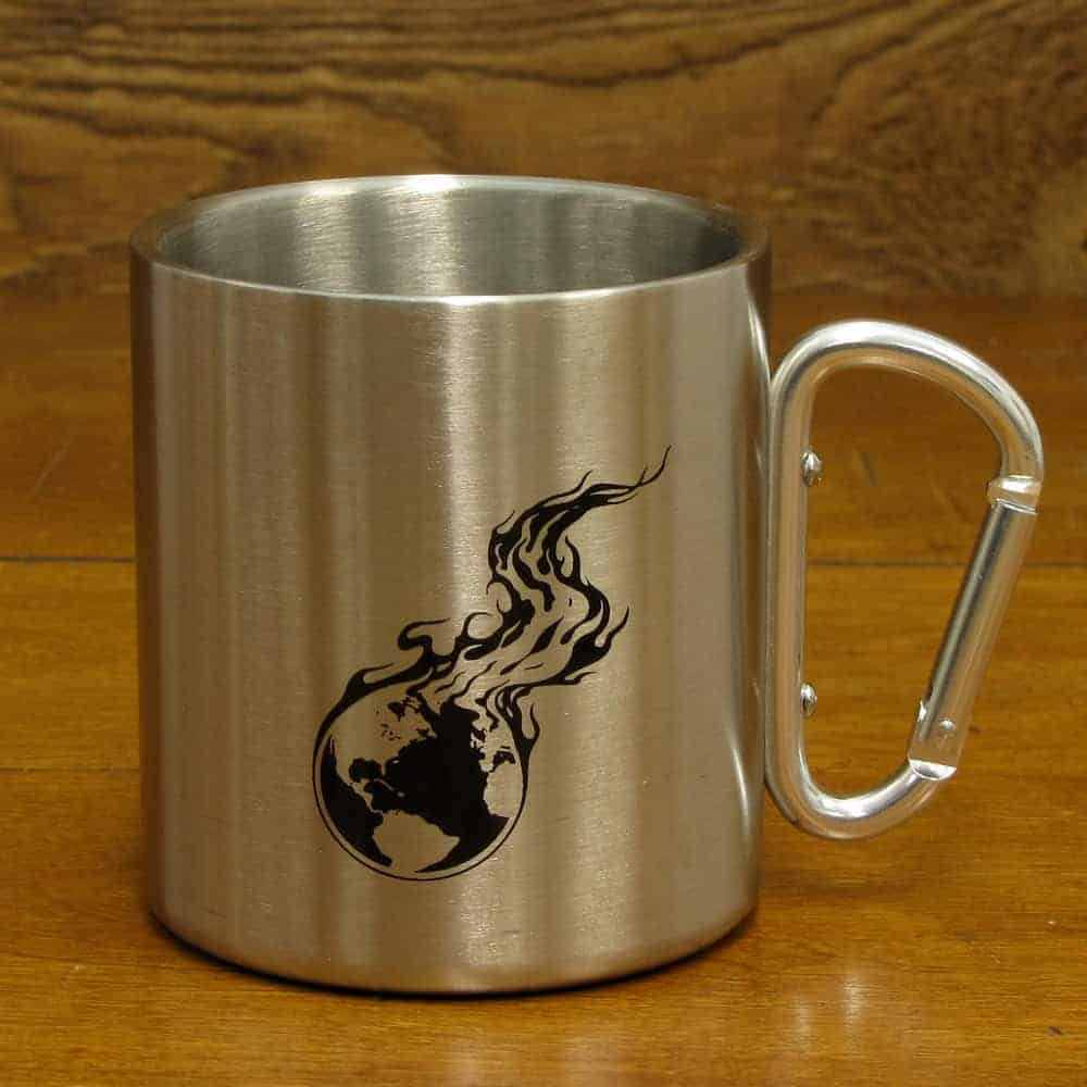 Stainless Steel Carabiner Mug - 15 oz. | Burning Earth Logo