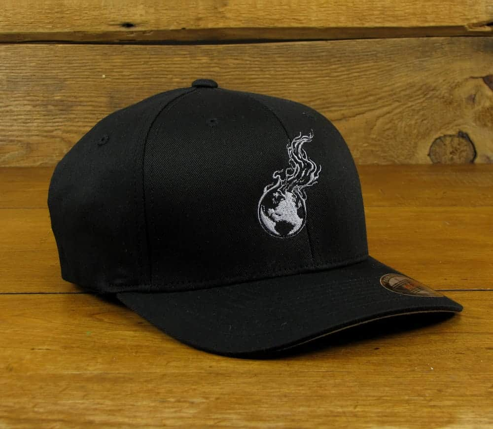 Burning Earth Gray Logo | Black Poly/Cotton Baseball Cap