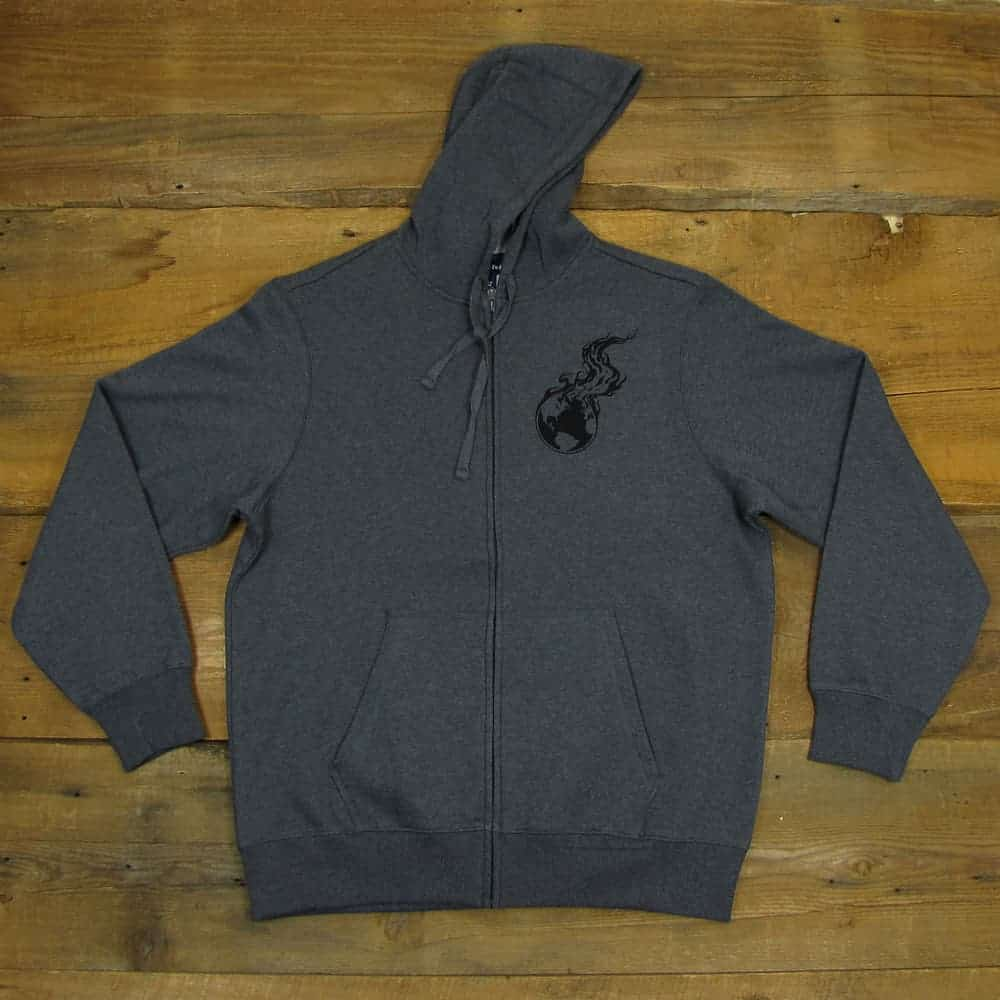 Burning Earth Black Logo | Dark Gray Heavyweight Zipper Hooded Sweatshirt