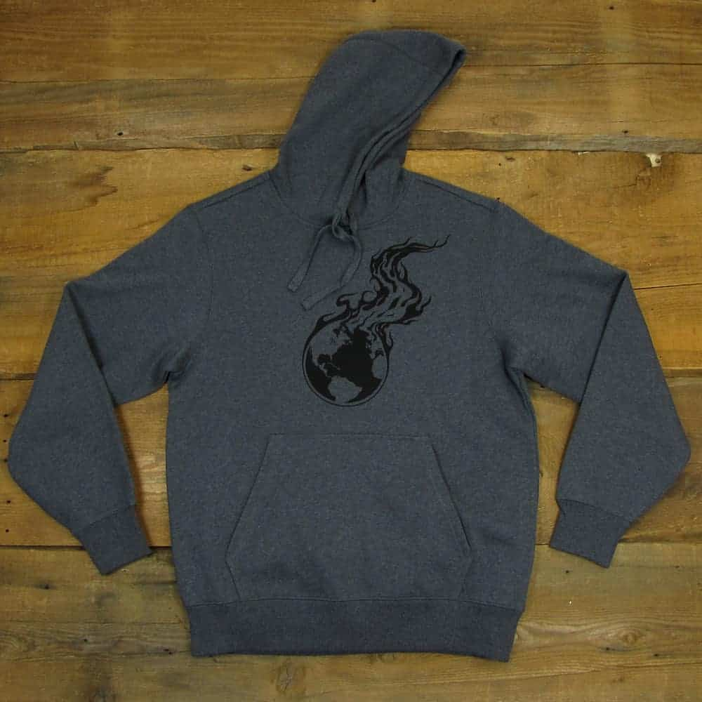 Burning Earth Black Logo | Dark Gray Heavyweight Pullover Hooded Sweatshirt
