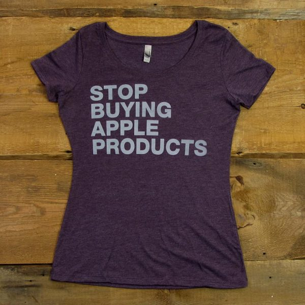 Stop Buying Apple Products | Women's Scoop Neck Tri-Blend T-Shirt