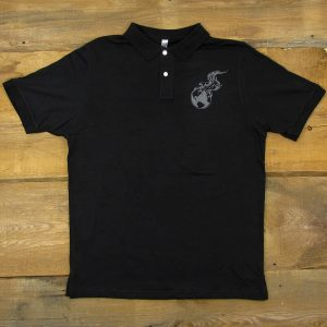 Burning Earth | Black Slub Polo Shirt