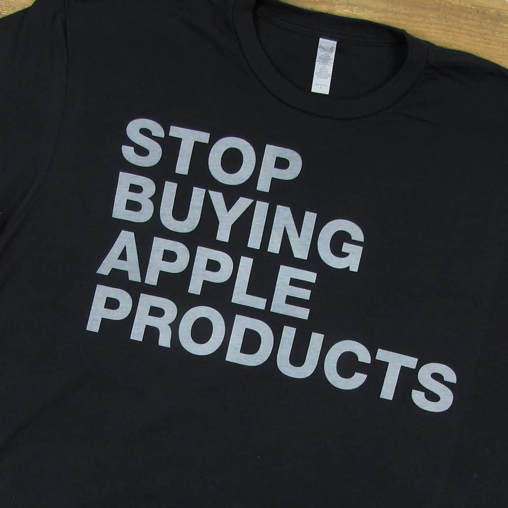 Stop Buying Apple Products | Men's Black T-Shirt
