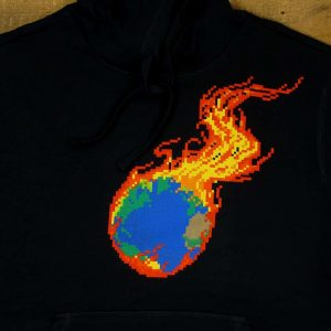Pixel Burning Earth | Black Heavyweight Pullover Hooded Sweatshirt - Limited Edition