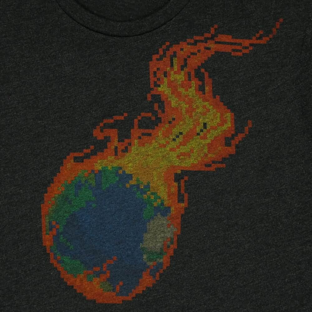 Pixel Burning Earth | Men's Tri-Blend T-Shirt