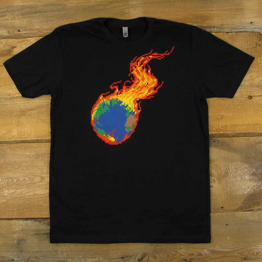 Pixel Burning Earth | Men's Black T-Shirts