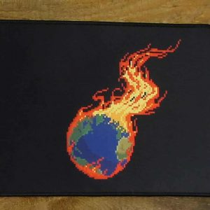 Pixel Burning Earth Desk Mat | 90cm x 25cm x 2mm